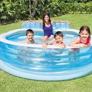 piscina hinchable con asiento