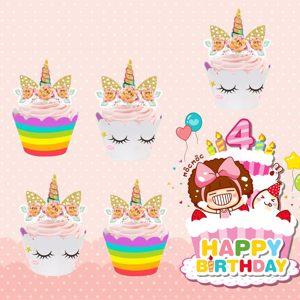 cupcake toppers 24 piezas unicornio